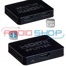 Фото - Сплитер 2port HDMI (1гн. HDMI- 2гн. HDMI), DC-5V